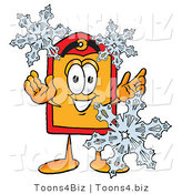 Illustration of a Cartoon Price Tag Mascot with Three Snowflakes in Winter by Toons4Biz