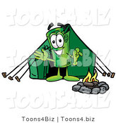 Illustration of a Cartoon Rolled Money Mascot Camping with a Tent and Fire by Toons4Biz