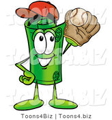 Illustration of a Cartoon Rolled Money Mascot Catching a Baseball with a Glove by Toons4Biz
