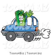 Illustration of a Cartoon Rolled Money Mascot Driving a Blue Car and Waving by Toons4Biz