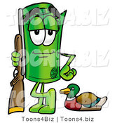 Illustration of a Cartoon Rolled Money Mascot Duck Hunting, Standing with a Rifle and Duck by Toons4Biz
