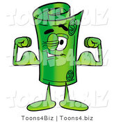 Illustration of a Cartoon Rolled Money Mascot Flexing His Arm Muscles by Toons4Biz