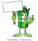 Illustration of a Cartoon Rolled Money Mascot Holding a Blank Sign by Toons4Biz