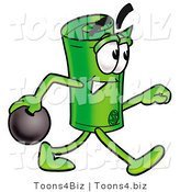 Illustration of a Cartoon Rolled Money Mascot Holding a Bowling Ball by Toons4Biz