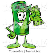 Illustration of a Cartoon Rolled Money Mascot Holding a Dollar Bill by Toons4Biz