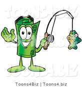 Illustration of a Cartoon Rolled Money Mascot Holding a Fish on a Fishing Pole by Toons4Biz