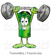 Illustration of a Cartoon Rolled Money Mascot Holding a Heavy Barbell Above His Head by Toons4Biz