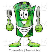 Illustration of a Cartoon Rolled Money Mascot Holding a Knife and Fork by Toons4Biz