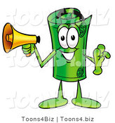 Illustration of a Cartoon Rolled Money Mascot Holding a Megaphone by Toons4Biz