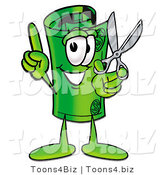 Illustration of a Cartoon Rolled Money Mascot Holding a Pair of Scissors by Toons4Biz