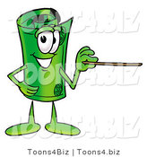Illustration of a Cartoon Rolled Money Mascot Holding a Pointer Stick by Toons4Biz
