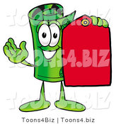 Illustration of a Cartoon Rolled Money Mascot Holding a Red Sales Price Tag by Toons4Biz