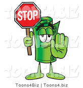 Illustration of a Cartoon Rolled Money Mascot Holding a Stop Sign by Toons4Biz