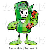 Illustration of a Cartoon Rolled Money Mascot Holding a Telephone by Toons4Biz