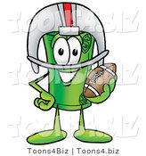 Illustration of a Cartoon Rolled Money Mascot in a Helmet, Holding a Football by Toons4Biz