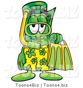 Illustration of a Cartoon Rolled Money Mascot in Green and Yellow Snorkel Gear by Toons4Biz