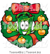 Illustration of a Cartoon Rolled Money Mascot in the Center of a Christmas Wreath by Toons4Biz