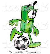 Illustration of a Cartoon Rolled Money Mascot Kicking a Soccer Ball by Toons4Biz