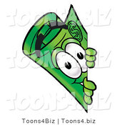 Illustration of a Cartoon Rolled Money Mascot Peeking Around a Corner by Toons4Biz