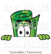Illustration of a Cartoon Rolled Money Mascot Peeking over a Surface by Toons4Biz