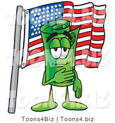 Illustration of a Cartoon Rolled Money Mascot Pledging Allegiance to an American Flag by Toons4Biz