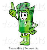 Illustration of a Cartoon Rolled Money Mascot Pointing Upwards by Toons4Biz