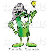Illustration of a Cartoon Rolled Money Mascot Preparing to Hit a Tennis Ball by Toons4Biz