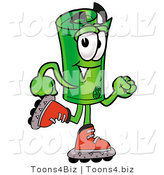 Illustration of a Cartoon Rolled Money Mascot Roller Blading on Inline Skates by Toons4Biz