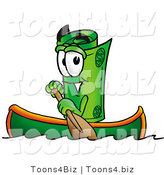 Illustration of a Cartoon Rolled Money Mascot Rowing a Boat by Toons4Biz