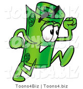 Illustration of a Cartoon Rolled Money Mascot Running by Toons4Biz