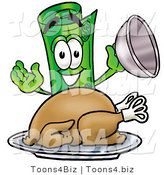 Illustration of a Cartoon Rolled Money Mascot Serving a Thanksgiving Turkey on a Platter by Toons4Biz