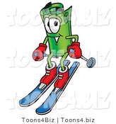 Illustration of a Cartoon Rolled Money Mascot Skiing Downhill by Toons4Biz
