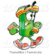Illustration of a Cartoon Rolled Money Mascot Speed Walking or Jogging by Toons4Biz