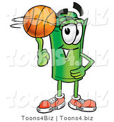 Illustration of a Cartoon Rolled Money Mascot Spinning a Basketball on His Finger by Toons4Biz