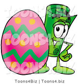 Illustration of a Cartoon Rolled Money Mascot Standing Beside an Easter Egg by Toons4Biz