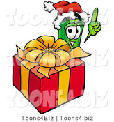 Illustration of a Cartoon Rolled Money Mascot Standing by a Christmas Present by Toons4Biz