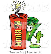 Illustration of a Cartoon Rolled Money Mascot Standing with a Lit Stick of Dynamite by Toons4Biz