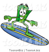 Illustration of a Cartoon Rolled Money Mascot Surfing on a Blue and Yellow Surfboard by Toons4Biz