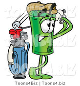 Illustration of a Cartoon Rolled Money Mascot Swinging His Golf Club While Golfing by Toons4Biz