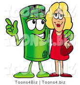 Illustration of a Cartoon Rolled Money Mascot Talking to a Pretty Blond Woman by Toons4Biz