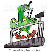 Illustration of a Cartoon Rolled Money Mascot Walking on a Treadmill in a Fitness Gym by Toons4Biz