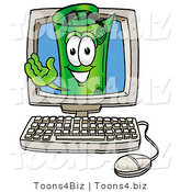 Illustration of a Cartoon Rolled Money Mascot Waving from Inside a Computer Screen by Toons4Biz