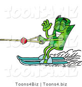 Illustration of a Cartoon Rolled Money Mascot Waving While Water Skiing by Toons4Biz