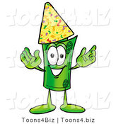 Illustration of a Cartoon Rolled Money Mascot Wearing a Birthday Party Hat by Toons4Biz