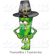 Illustration of a Cartoon Rolled Money Mascot Wearing a Pilgrim Hat on Thanksgiving by Toons4Biz
