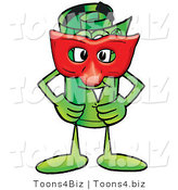Illustration of a Cartoon Rolled Money Mascot Wearing a Red Mask over His Face by Toons4Biz