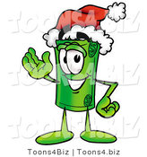 Illustration of a Cartoon Rolled Money Mascot Wearing a Santa Hat and Waving by Toons4Biz