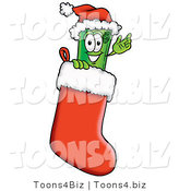 Illustration of a Cartoon Rolled Money Mascot Wearing a Santa Hat Inside a Red Christmas Stocking by Toons4Biz
