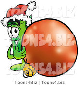 Illustration of a Cartoon Rolled Money Mascot Wearing a Santa Hat, Standing with a Christmas Bauble by Toons4Biz