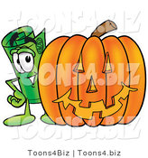 Illustration of a Cartoon Rolled Money Mascot with a Carved Halloween Pumpkin by Toons4Biz